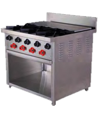 Three Burner Range With Hot Plate